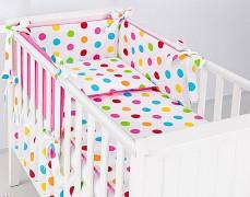 Dětské povlečení barevné puntíky růžová