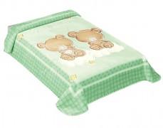 Dětská deka zelená medvídci na obláčku