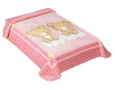 Dětská deka růžová medvídci na obláčku
