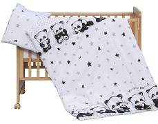 Dětské povlečení černo-bílá Panda