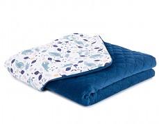 Dětská deka volavky s modrou velvet, LETNÍ 75x100