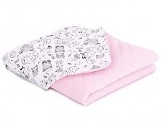 Dětská deka černo-bílý les s růžovou velvet, LETNÍ