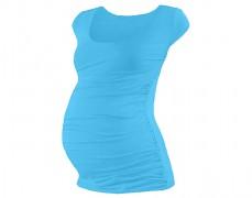 Těhotenské tričko tyrkysové mini rukáv