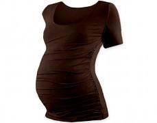 Těhotenské tričko hnědé kr.rukáv