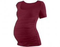 Těhotenské tričko bordó kr.rukáv
