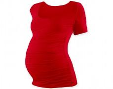 Těhotenské tričko červené kr.rukáv