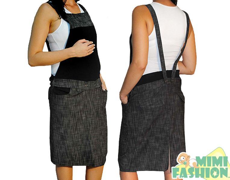 9615c657799 Těhotenské šaty s laclem černý melír