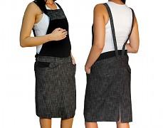 Těhotenské šaty s laclem černý melír