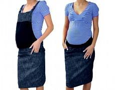 Těhotenské šaty s laclem modrý melír