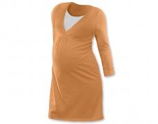 Kojící noční košilka oranžová dl.rukáv