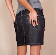 Těhu sukně černá Jeans s kapsami
