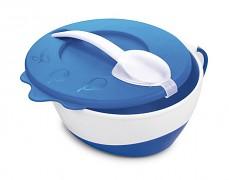Dětská modrá miska s lžičkou kravička