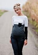 Těhotenské triko šedo-bílo-černé s kapsou