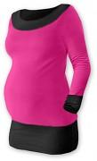 Těhotenská tunika Duo růžovo-černá