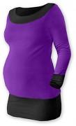Těhotenská tunika Duo fialovo-černá