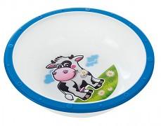 Plastová miska s protiskuzovým dnem modrá kravička
